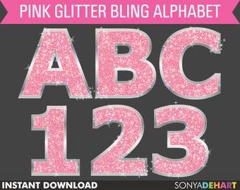 Glitter Alphabet, Alphabet Clipart, Alphabet Clip Art, Pink Glitter Letters, Digital Alphabets, Pink Glitter Fonts