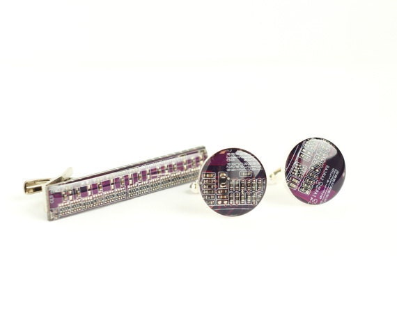 Set of Purple Cuff links and Tie bar - computer circuit board accessories sp2337 ready to ship
