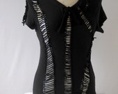 Women's  Large Black Altered, Reconstructed, Cut up, Cut Out,Ripped Shirt