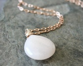 Pale Blush--18 inch rose gold necklace jade pendant bridesmaids wedding