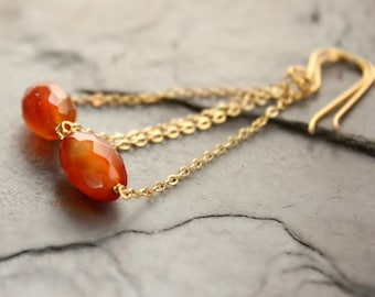 "Orange Red Carnelian gold fill ear wires gold chain long earrings gemstone warm toasty tones trapeze earrings--""Russet"""