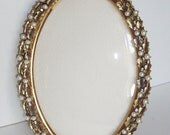 Vintage Oval Frame Ornate Gold Faux Pearls Rhinestones Convex Glass