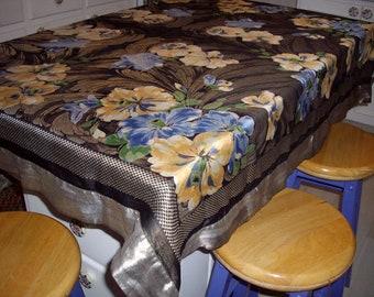 Vintage Tablecloth Throw Floral Woven Metallic Black Silver Blue Peach