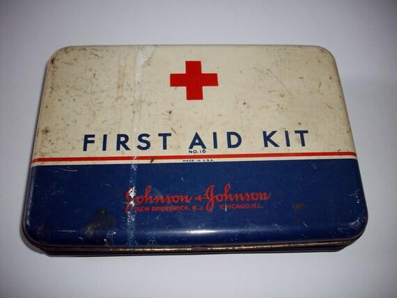 Vintage First Aid Kit Johnson & Johnson No. 16 Advertising Tin 1930's