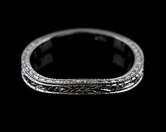 Contour Engraved Wedding Ring, Women's Milgrain Wedding Band, Carved Wedding Ring, Vintage Style Wedding Ring, Matching Gold Band 2.7mm Wide