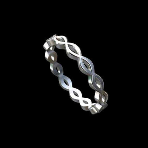 Solid 14K White Gold Stackable Infinity Wedding Band Ring 2.7mm Wide