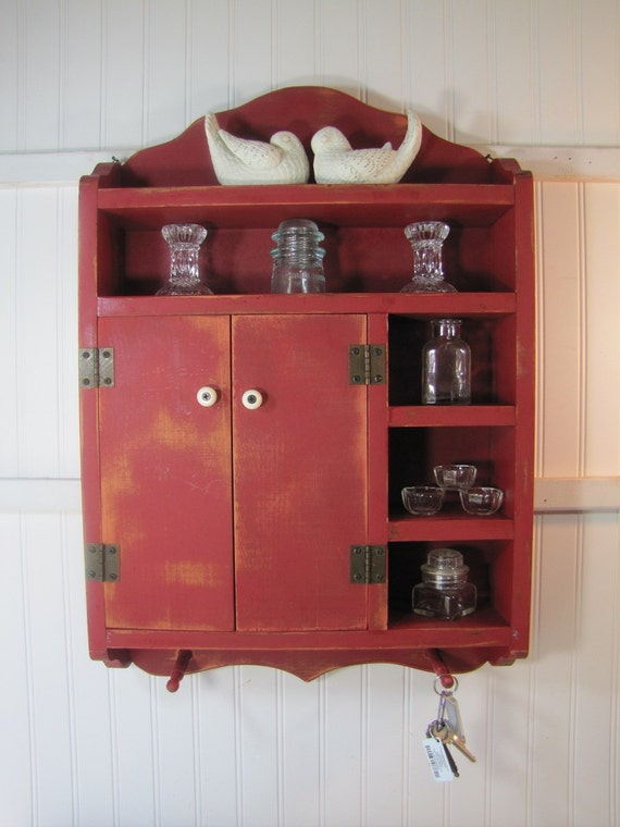 Vintage Red Wooden Cabinet  Farmhouse Prairie Chic Country Cottage
