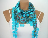 Bright  Blue Scarf  Flowered Yemeni Cotton Scarf  Spring Summer Fashion Red Pink Green Yellow White