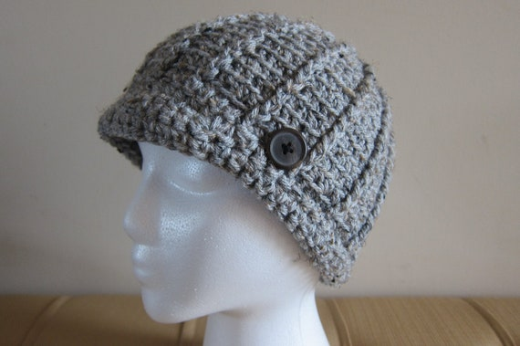 Gray Tweed Hat Crochet with Brim and Button, Winter Hat, Adult Hat, Teen Hat, Mens Hat