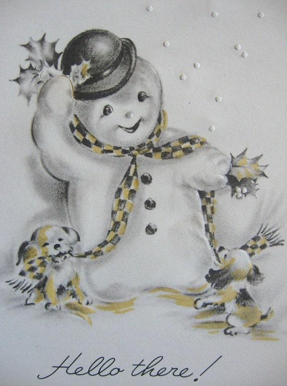 vintage snowman  u0026 puppy dogs christmas card 1940 u0026 39 s