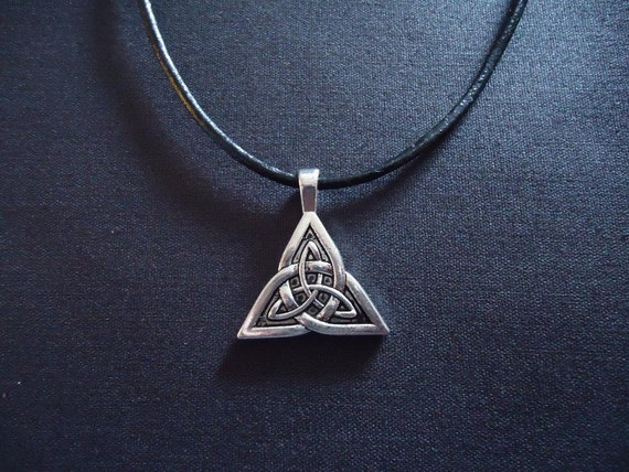 Celtic Triquetra Pendant on Leather Cord or ribbon