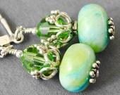 Green Blue Earrings, Lime Green Turquoise Blue Swarovski Crystal Dangle Earrings, Crystal Drop Earrings, Handmade Sterling Silver Jewelry