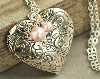 Silver Heart Locket Necklace, Victorian Locket , Pink Pearl Bridesmaid Necklace, Valentines Day Gift