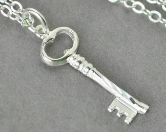 Sterling Silver Key Necklace,  Skeleton Key Pendant Necklace, Handmade Sterling Silver Jewelry