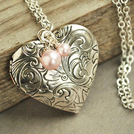 Silver Heart Locket Necklace Victorian Locket By