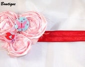 Beautiful pink rosette flower headband with Butterfly and bird accent buttons for child and infant