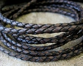 5 Yard 3 MM Braided Leather Lace Bolo Cord Vintage Dark Brown