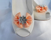 Handmade bow shoe clips with rhinestone center bridal shoe clips wedding accessories in peach
