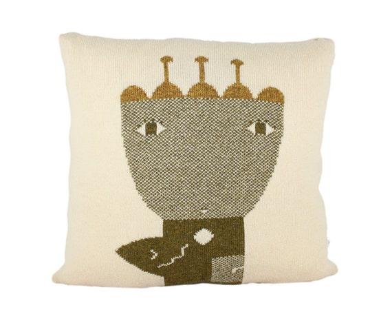 Decorative Pillow -Flower Queen - soft knitted pillow - cream,green, 18x18, includes insert