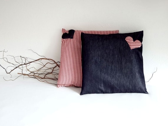 Pillow covers jeans and vichy tissue - OOAK - gingham - heart decoration