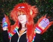 Monster Animal Hood Hat/Scarf, Super Furry Orange, made to order