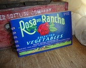 """VINTAGE """"Rosa del Rancho"""" VEGETABLE Label upcycled into 70 pg unlined Spiral Bound NOTEBOOK Doodle Pad"""