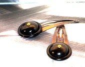 Brown and Black Snap Hair Clips, Vintage Buttons, Set of Two, Rustic, Back to School