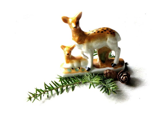 Vintage Deer, Doe and Fawn, Ceramic, Figurine, Collectible, Rustic Woodland, Home Decor, c.1970