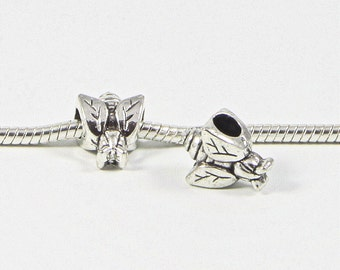 3 Beads - Bee Fly Insect Bug Animal Silver European Bead Charm E0728