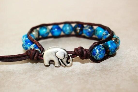Elephant Bracelet, Leather Beaded Wrap Bracelet 1x, Elephant Jewelry, Aqua Jasper Gemstone Beads, Lucky Jewelry