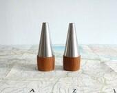 Danish Modern Salt and Pepper Shakers - Mid Century Teak and Stainless Steel