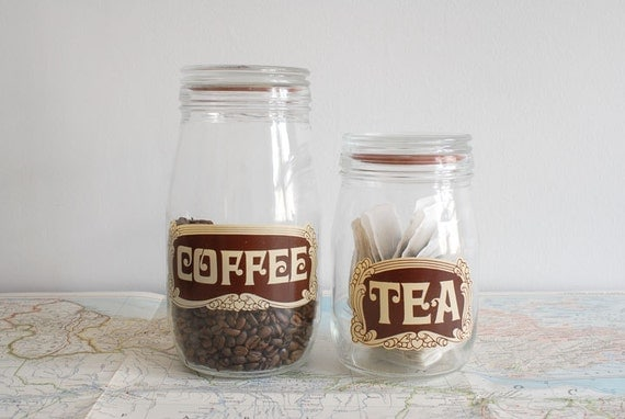 SALE Vintage French Coffee and Tea Glass Storage Jars by Triomphe