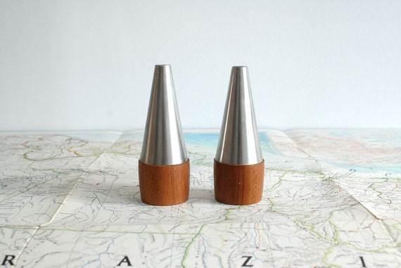 Danish Modern Salt and Pepper Shakers - Mid Century Teak and Stainless Steel