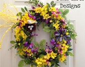 CLEARANCE!!!  Spring/Summer Indoor/Outdoor Wreath with Bird Nest