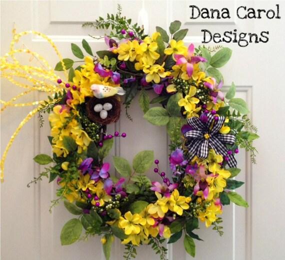 CLEARANCE!!!  Spring/Summer Indoor/Outdoor Wreath with Bird Nest