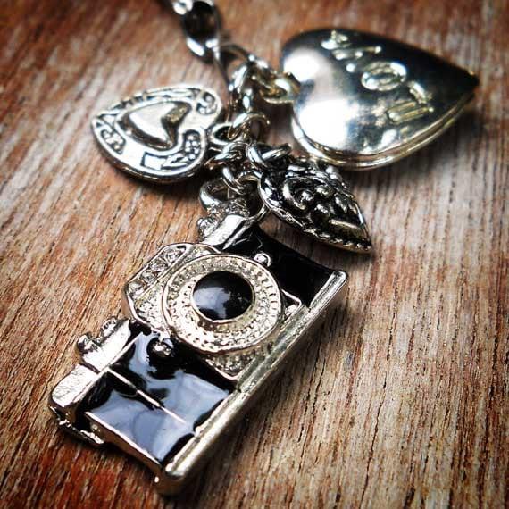 camera locket charm necklace