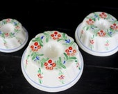 Ceramic Jello Molds, Floral Graduated Set of 3, Vintage Enesco 1982