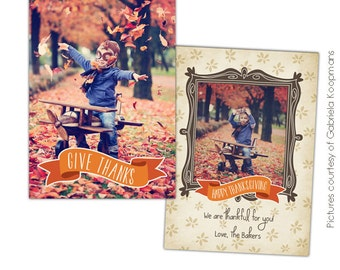 INSTANT DOWNLOAD - Thanksgiving Photo Card Photoshop template - Fall times - E576