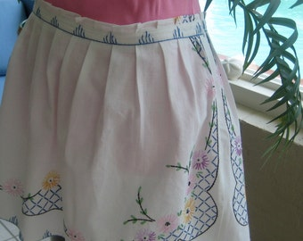 Embroidered skirt repurposed from vintage linens