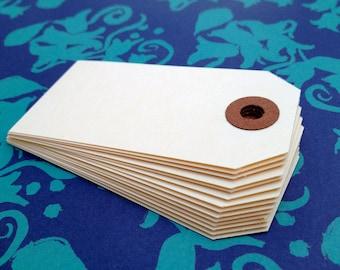 "100 Manila Gift/Favor Tags - Medium Blank 13 pt cardstock Shipping Tag 3 1/4"" x 1 5/8"" - DIY for packaging"