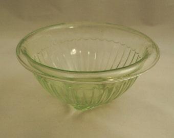 Hazel Atlas Small Green Mixing Bowl Uranium Glass 6 inch