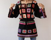 Crochet dress tunic hippie gypsy jumper sweater patchwork retro glamour-flower power vintage look-handmade crochet design- made to order