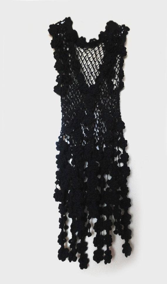 Black crochet dress hippie tunic - luxury boho style - alternative bridal gown - customer order - RESERVED