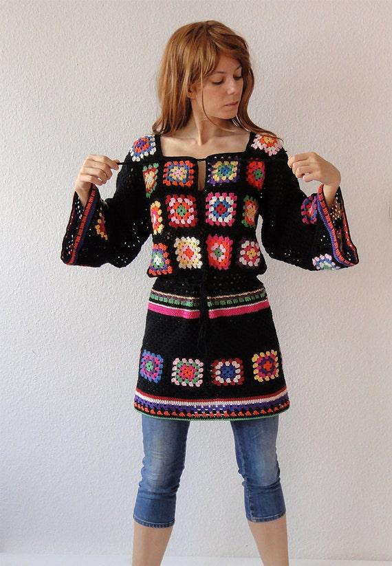 vestido de crochet túnica hippie puente gitana suéter mosaico de glamour-power flower aspecto vintage-ganchillo hecho a mano retro diseño- hecho a la medida