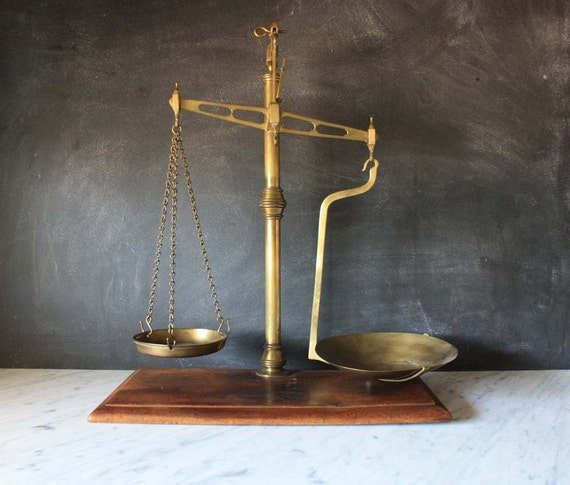 Vintage Brass Scale with Wood Base