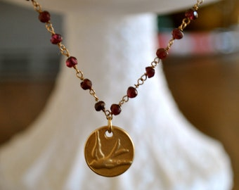 WIRE WRAPPED  gold  Garnet necklace with  bird  charm / great gift/bridesmade necklace/bomemian necklace/bohochic necklace.