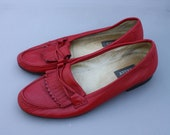 RESERVED // Vintage Cherry Red Leather Loafers // Bally // 8