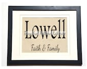 Personalized Names and Family Motto Custom Inked on Painters Drop Cloth. Perfect for Wedding gift.