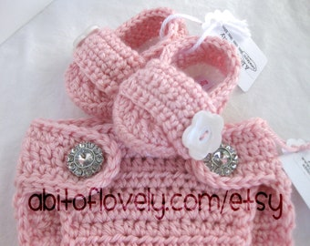 Baby Girl, Shoes, Booties, Diaper Cover, White, Pink, Newborn, Photo Prop, Slippers, Crib Shoes