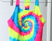 Mega Bright Neon Tie Dye Stretchy Speedo 90s Top